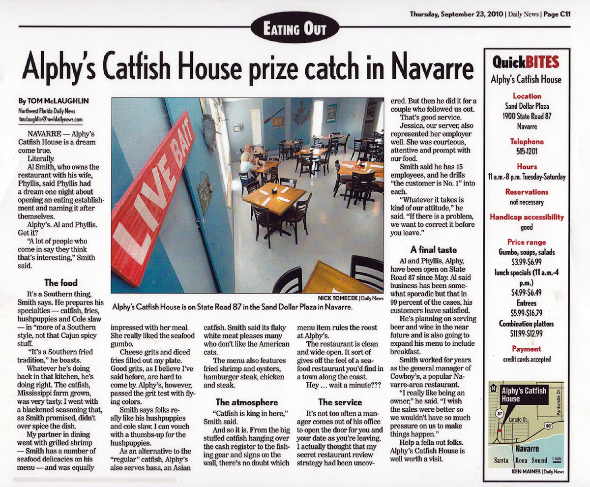 Alphy's Catfish House News Story